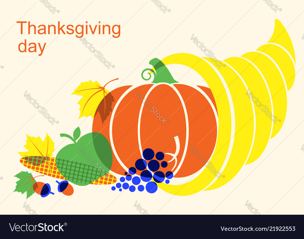 Happy thanksgiving day with cornucopia and