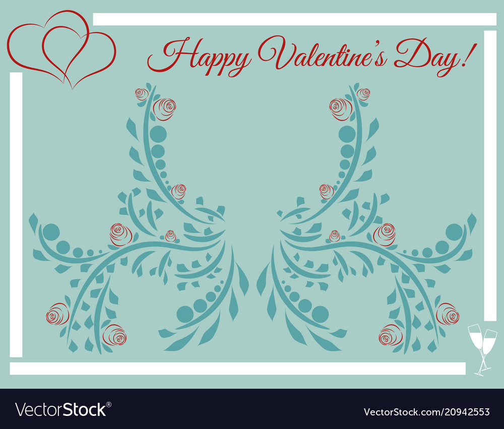 Happy valentines day post card heart and roses