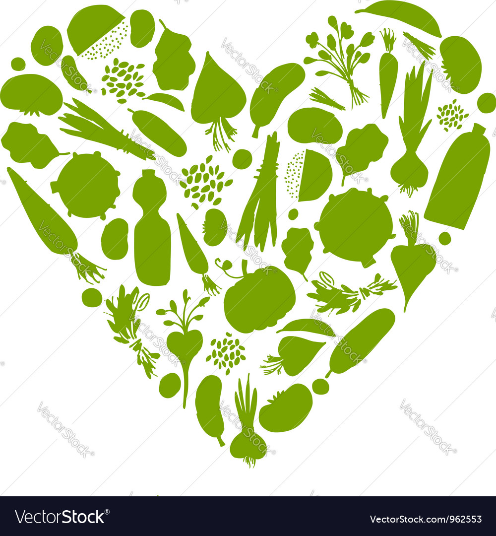 Healthy life - heart shape with vegetables