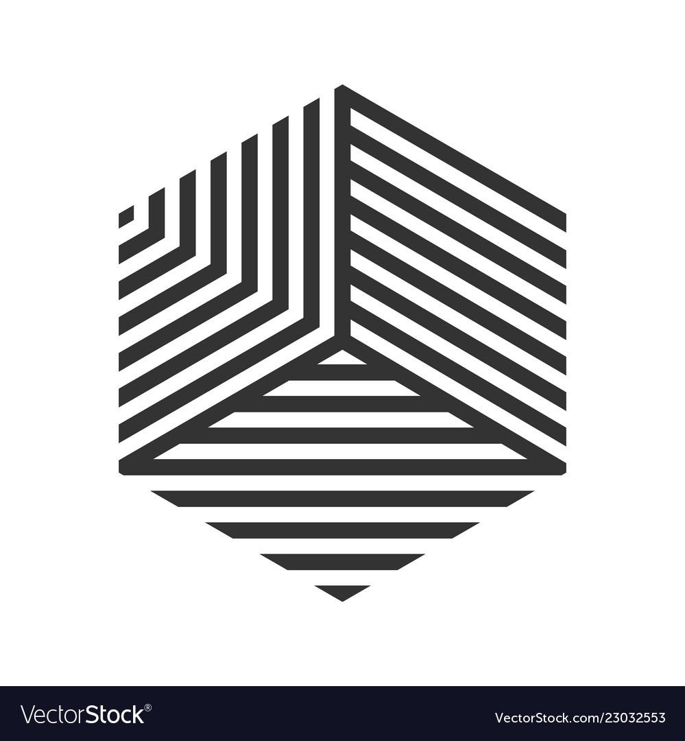 Hexagon logo geometric stripe cube tile