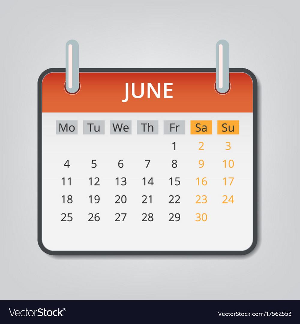 june 2018 calendar concept background cartoon vector image