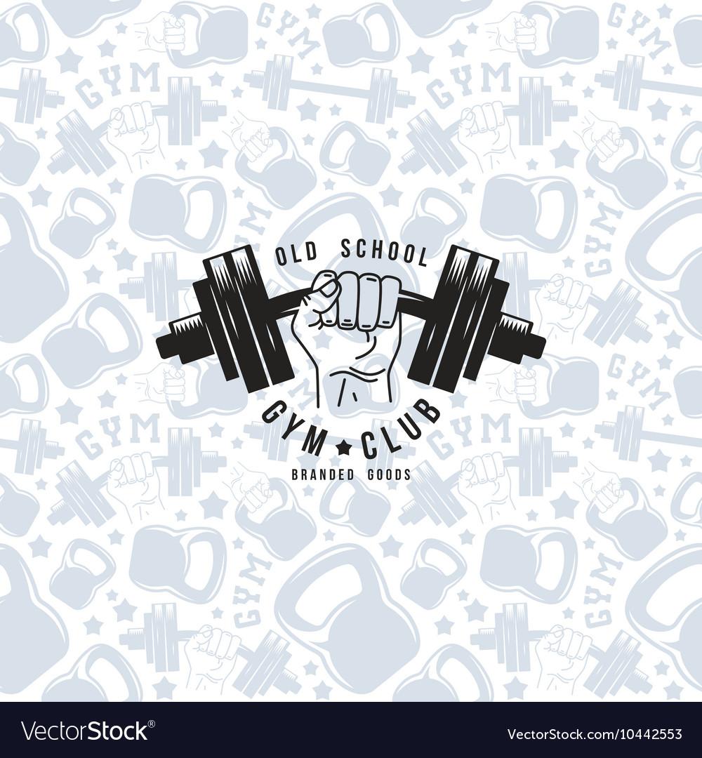 Seamless pattern and emblem gym club