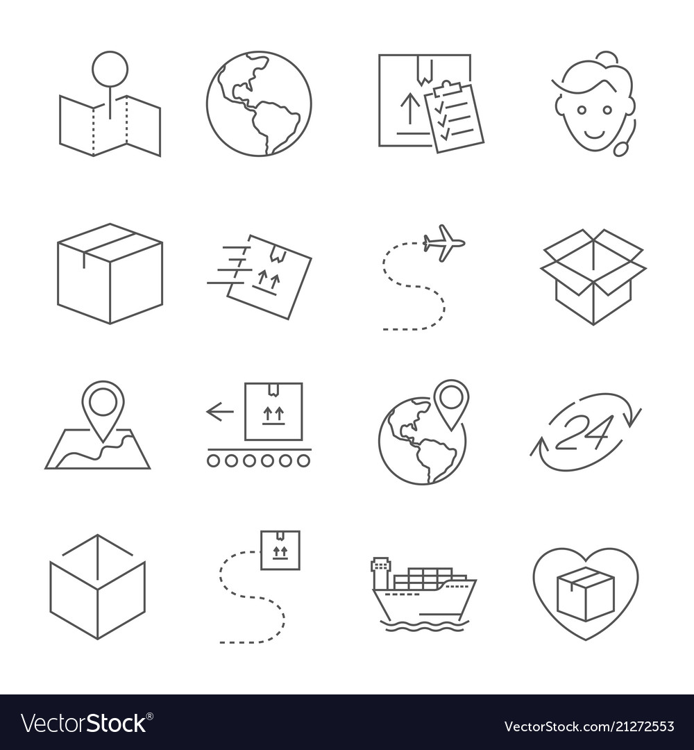 Set of package delivery related line icons