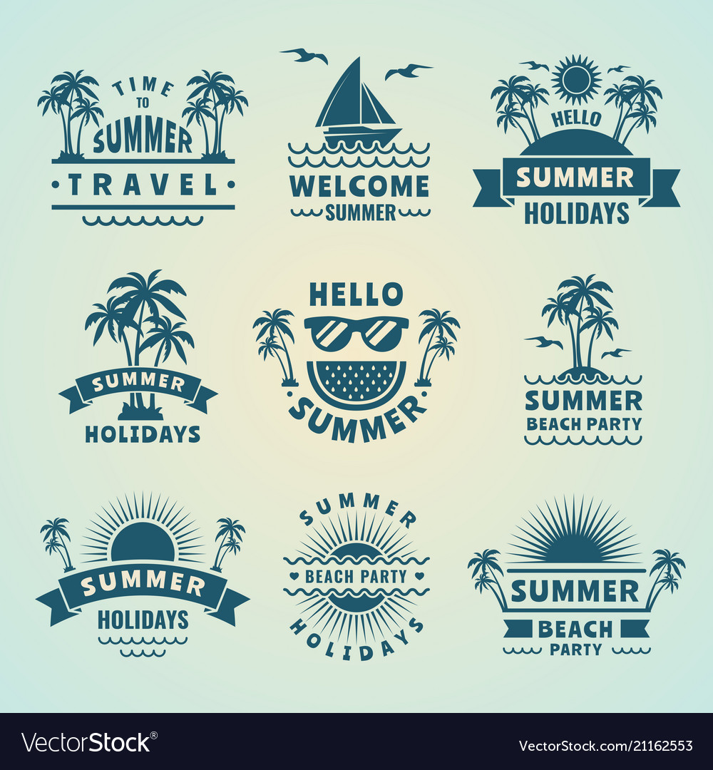 Summer labels tropical