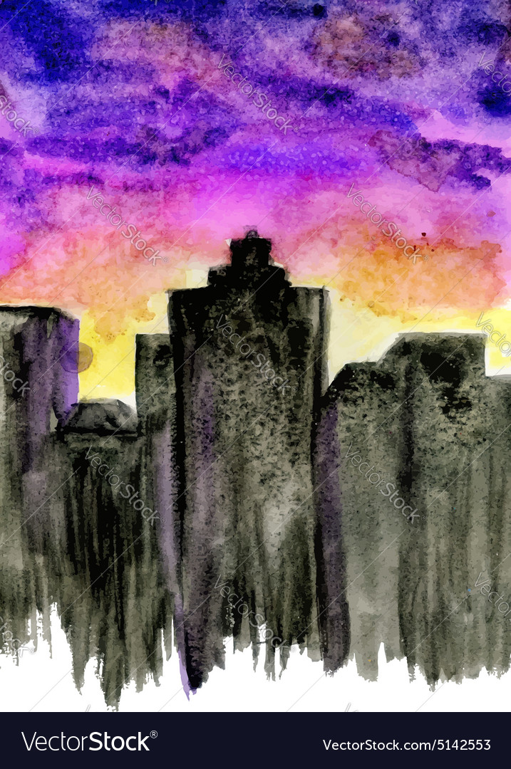 Sunset City Watercolor