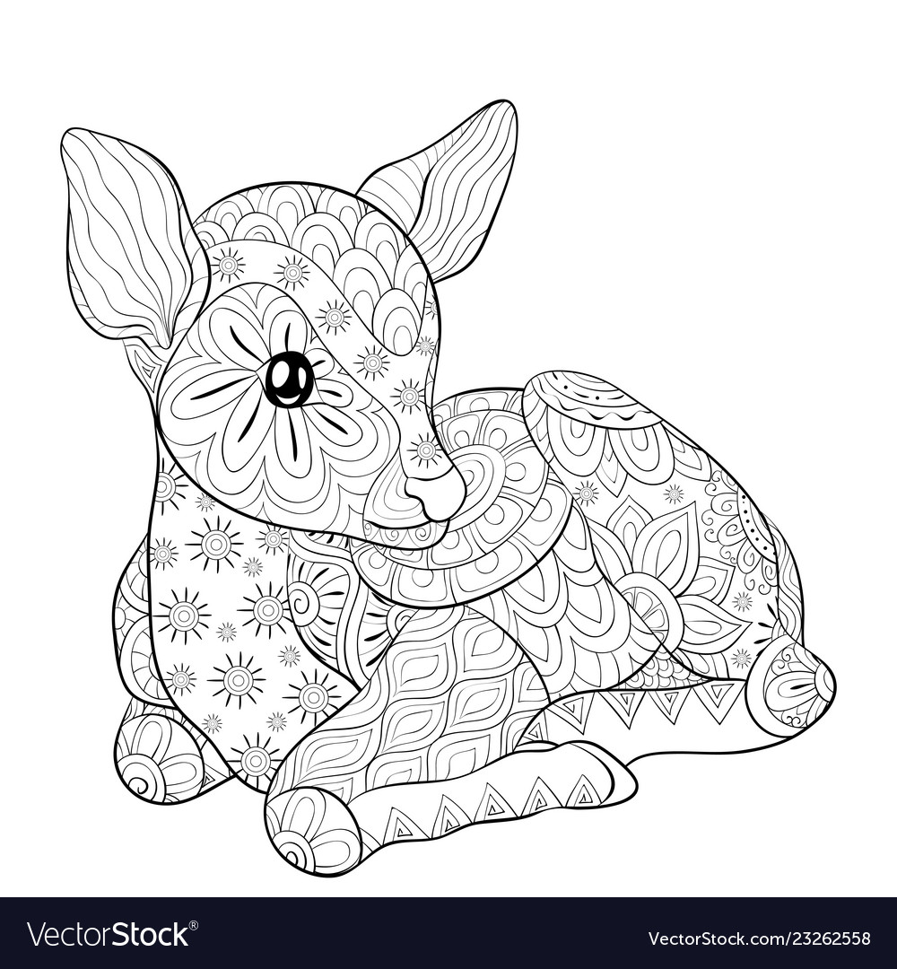 Adult coloring bookpage a cute little deer with Vector Image
