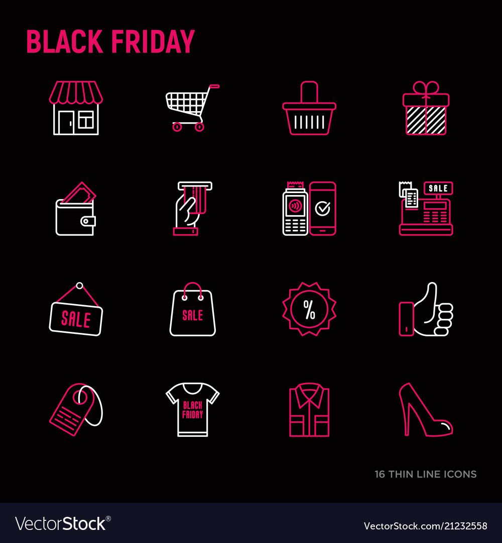 Black friday sale thin line icons set