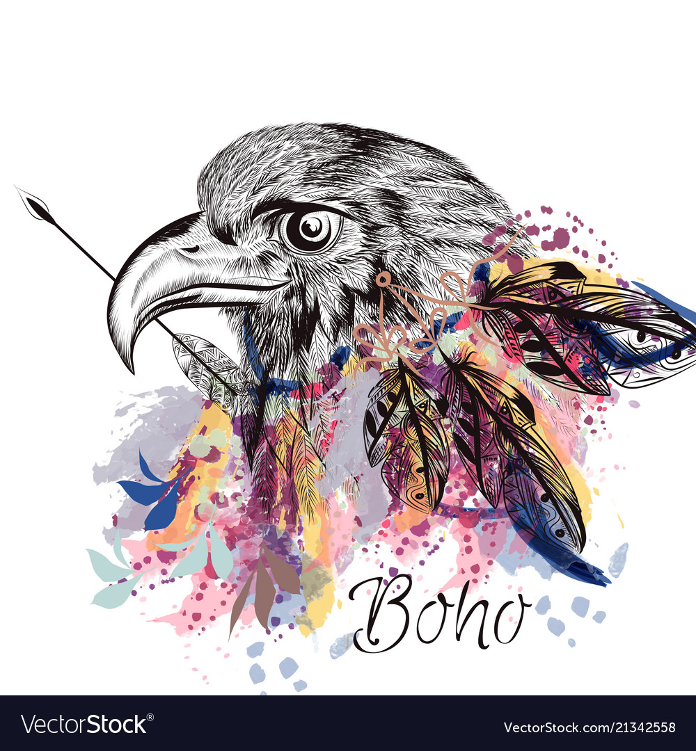 Boho tribal design with eagle holding arrow