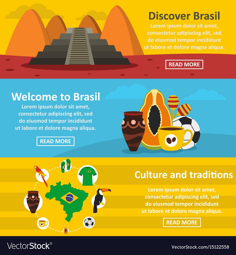 Brasil travel banner horizontal set flat style vector image