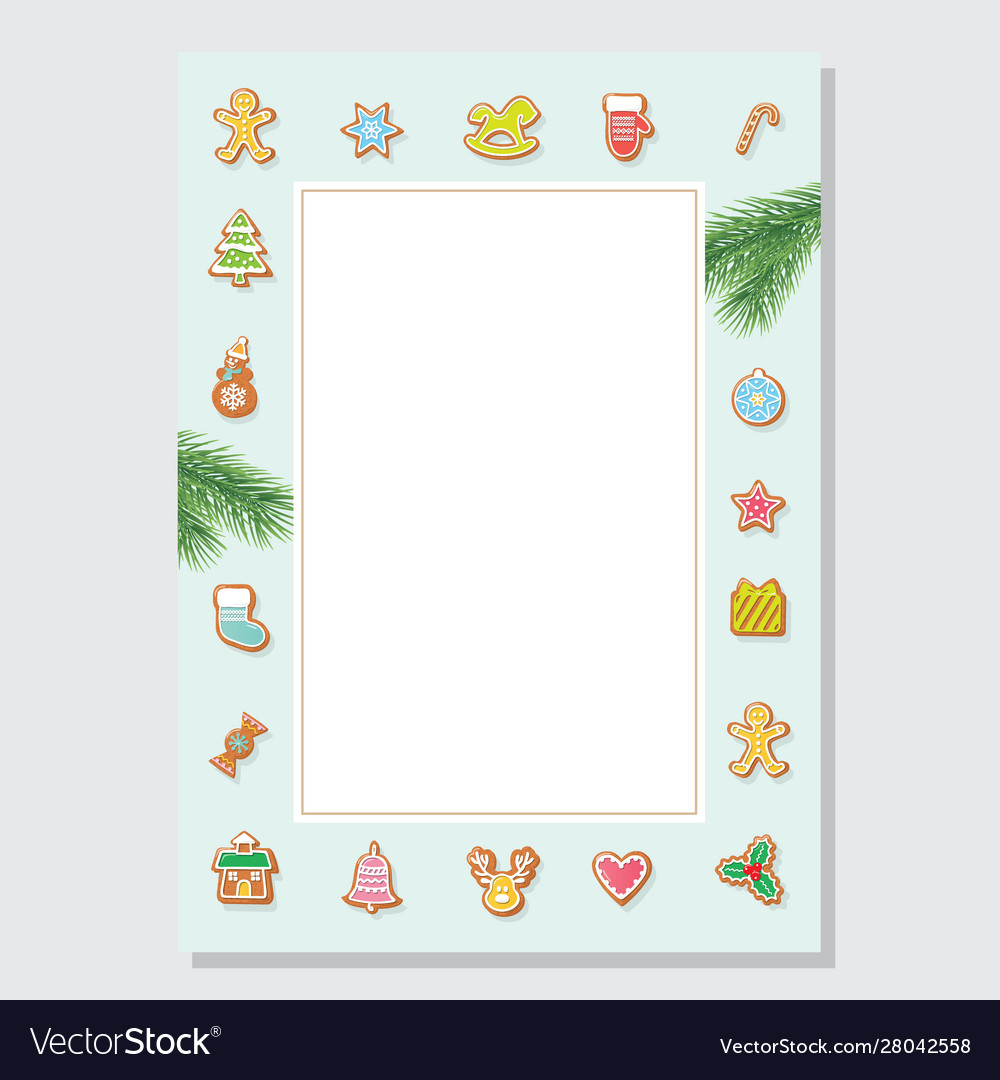 Christmas letter blank template a4 decorated with