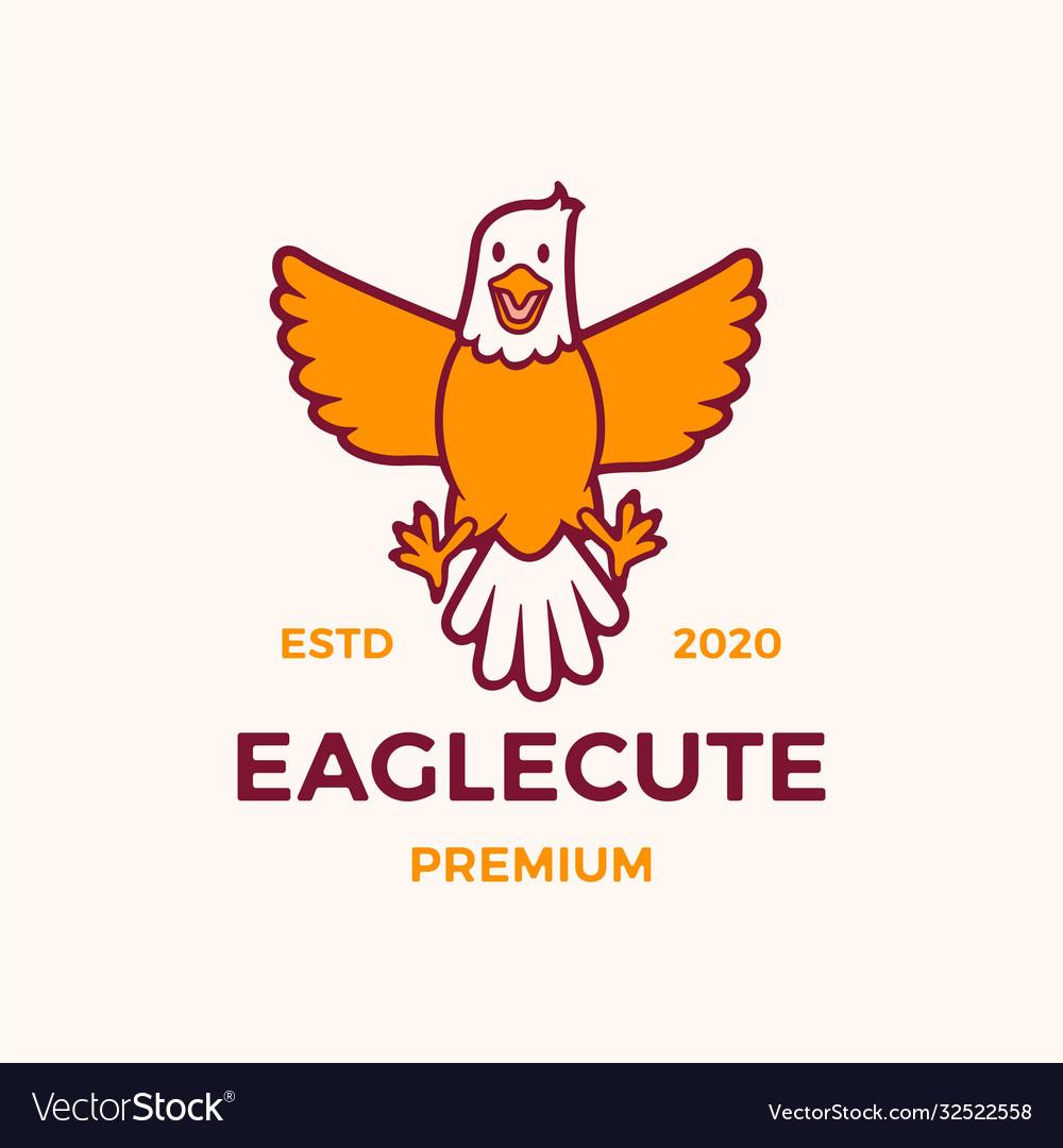 Cute eagle cartoon logo icon