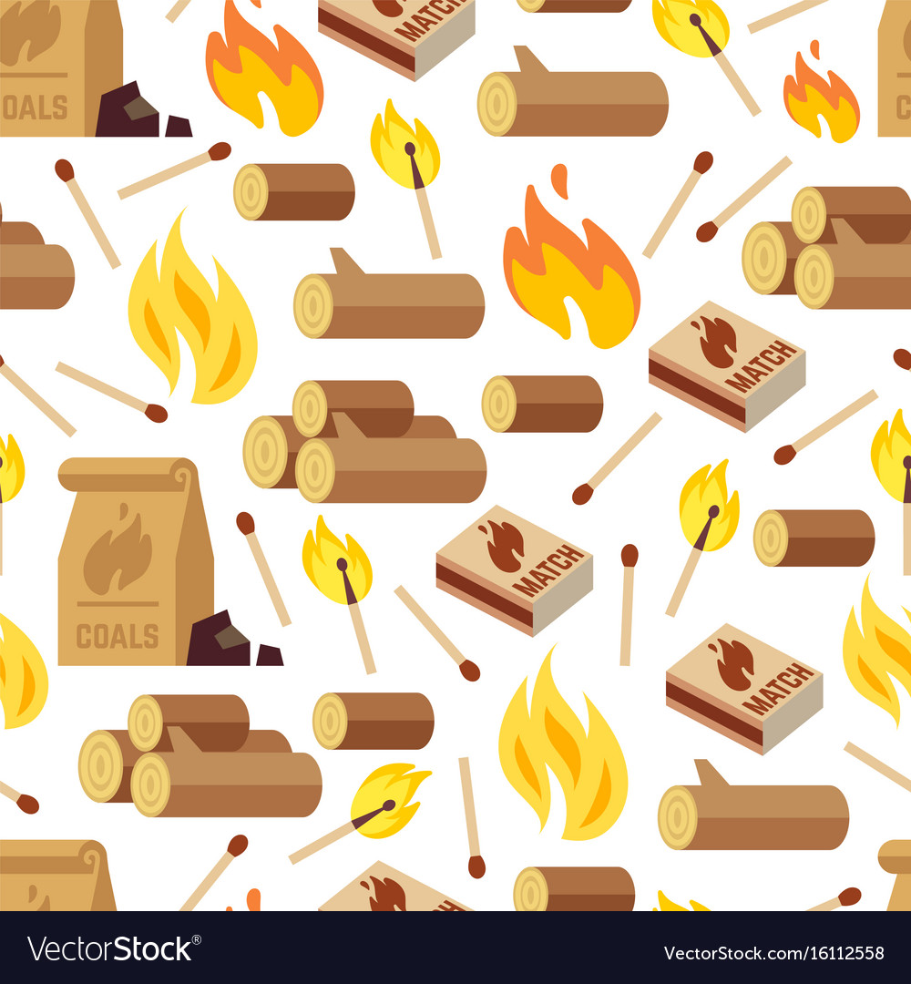 Fire and wooden seamless pattern