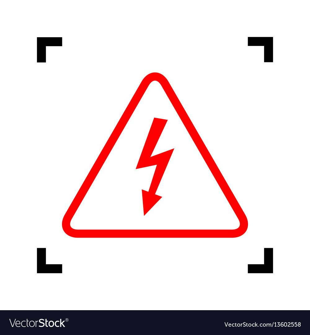 High voltage danger sign red icon inside