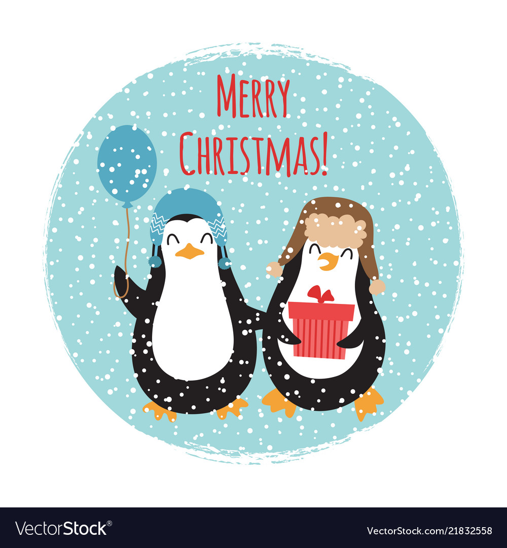 Merry christmas cute penguins vintage card design