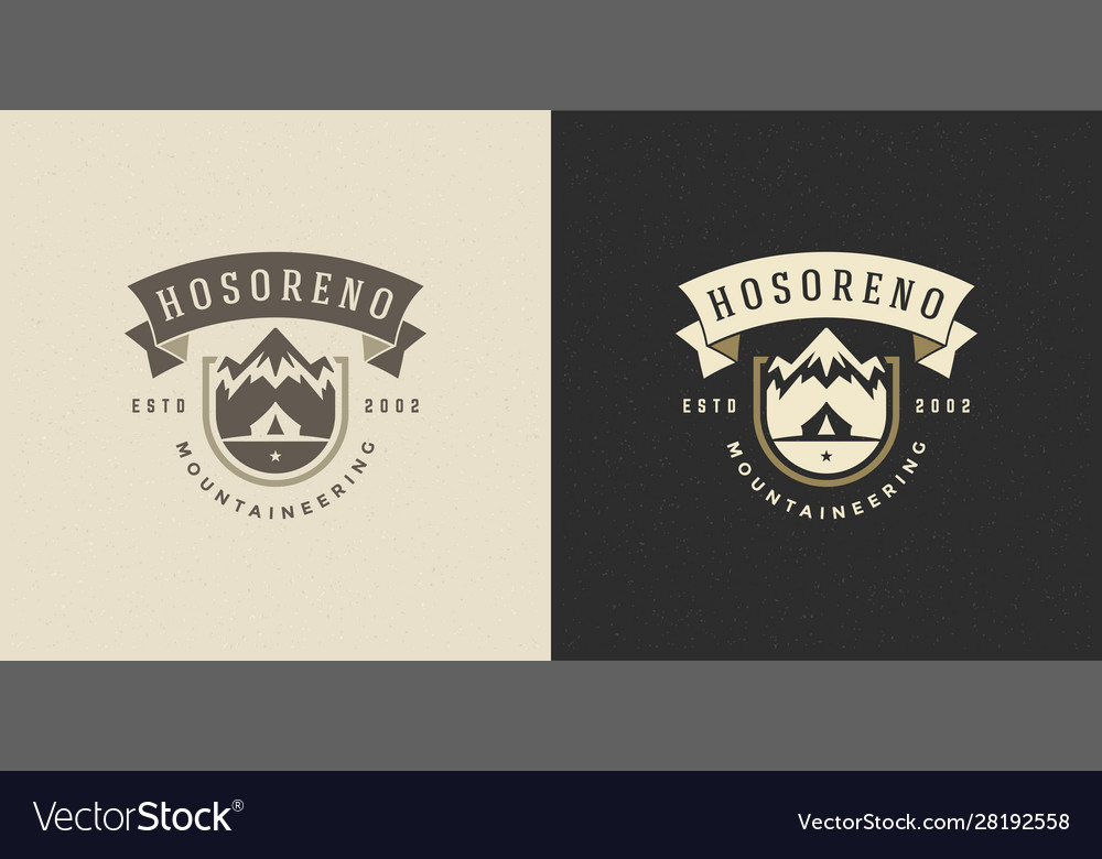 Mountains logo emblem outdoor adventure camping