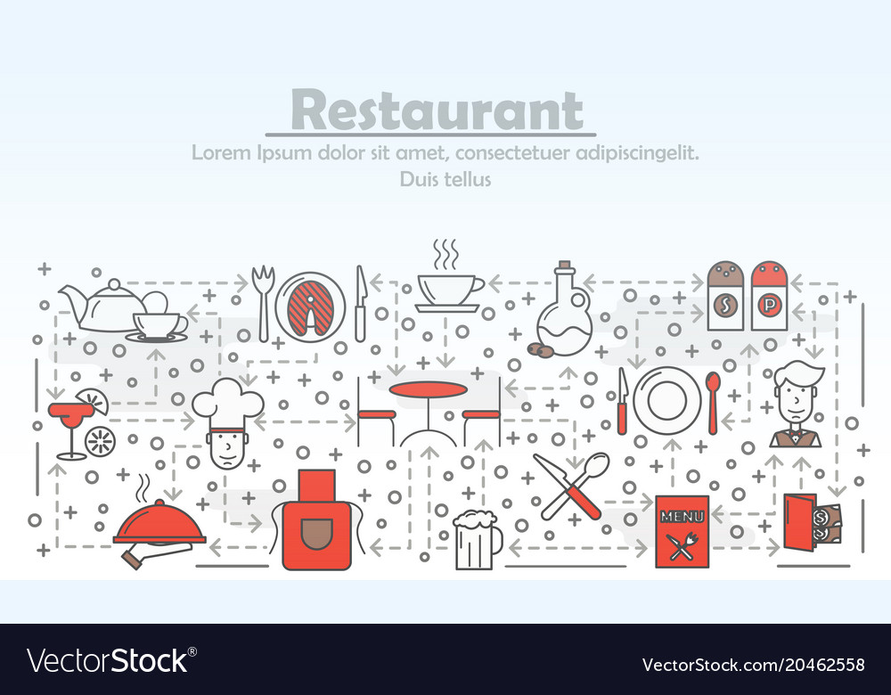Restaurant service advertising concept flat vector image