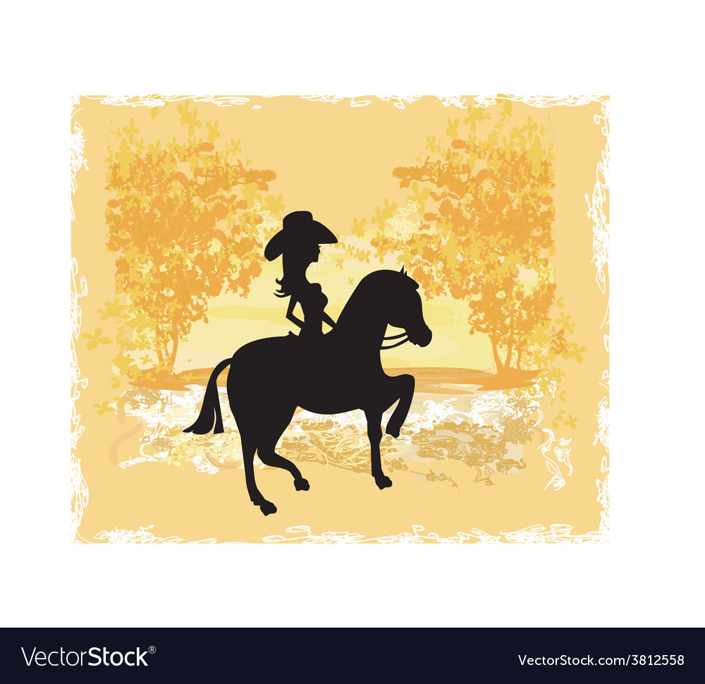 Silhouette of Cowgirl and Horse - grunge