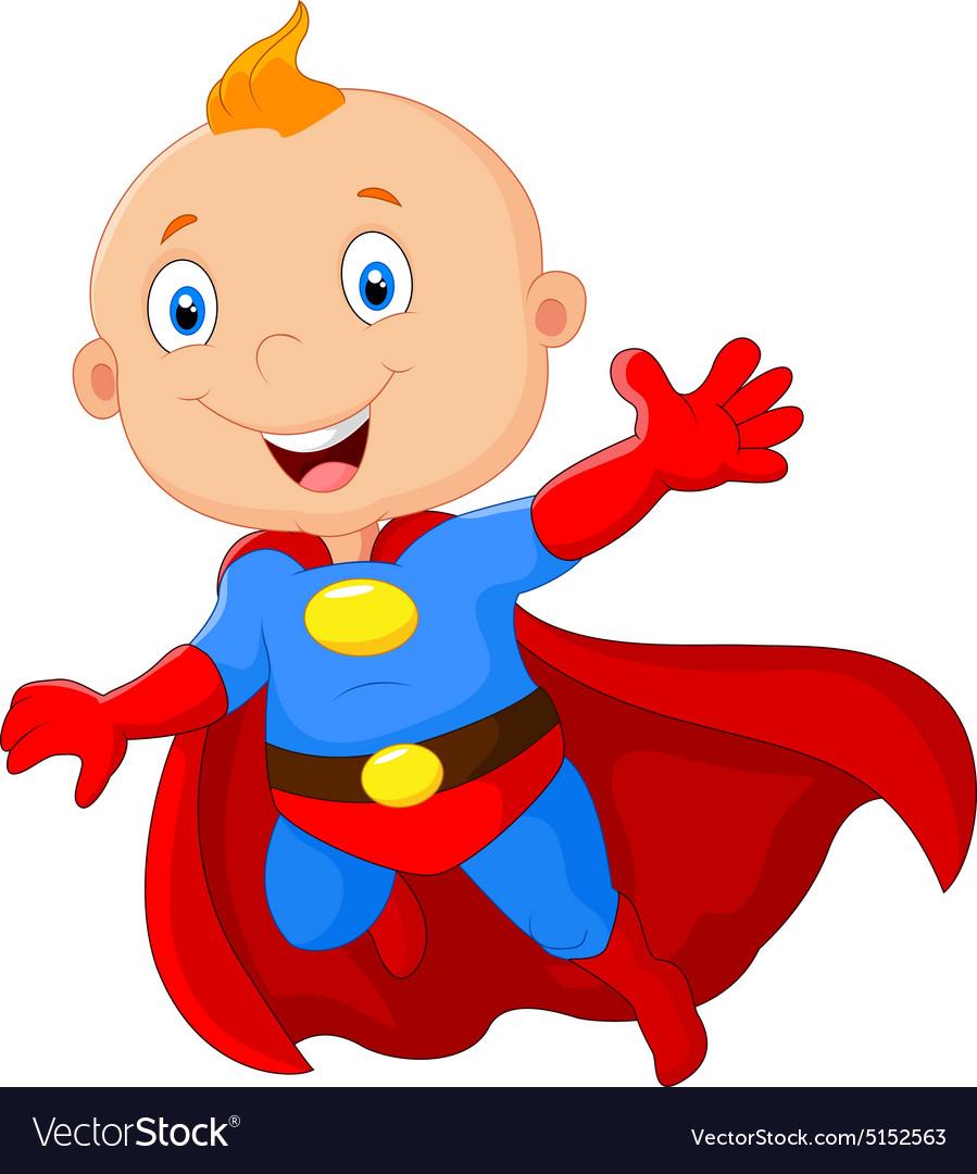 915Super hero boy posing vector image