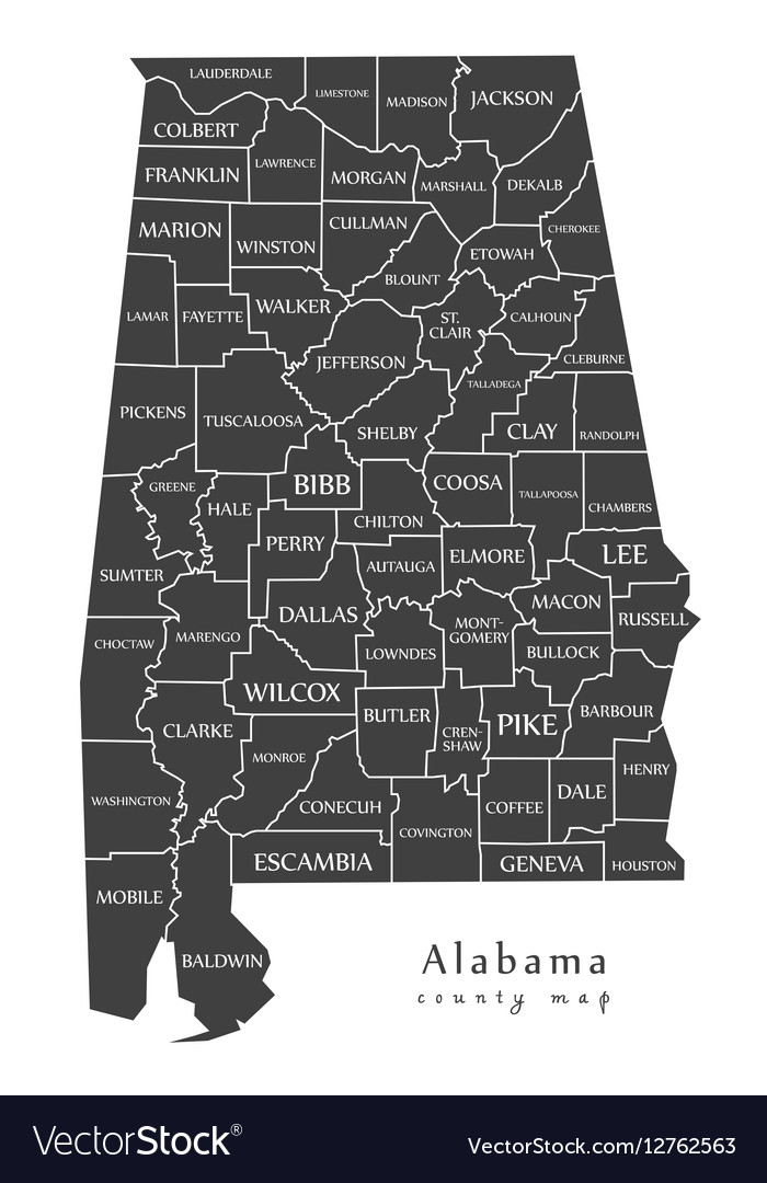 Alabama county map labels vector image
