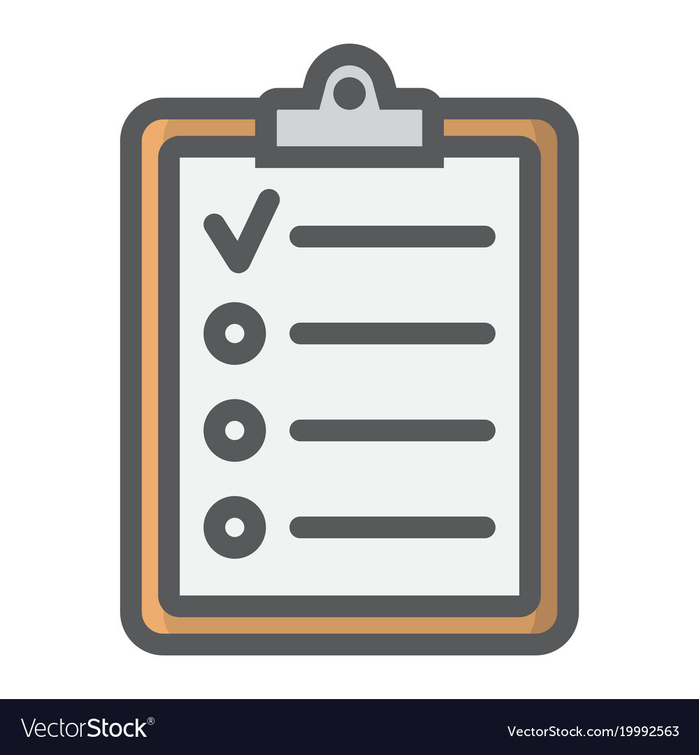 Checklist filled outline icon clipboard and note