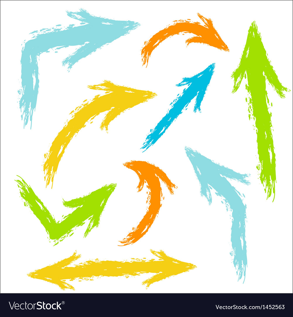 Colorful painted arrows vector image