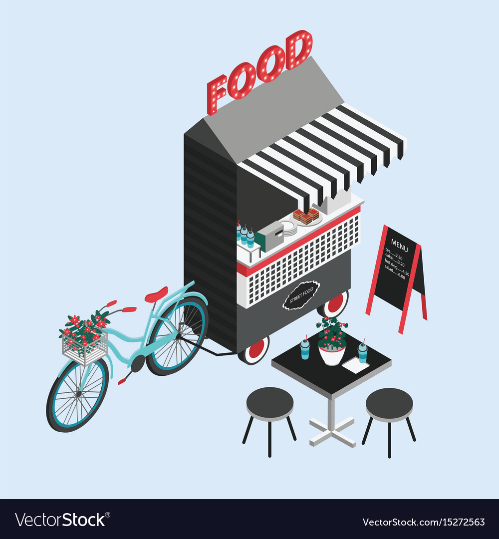 Concept of street food bicycle kiosk foodtruck