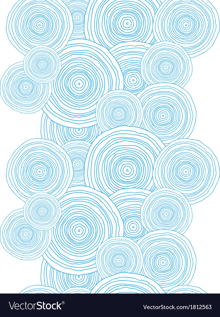 Doodle circle water texture vertical border vector image