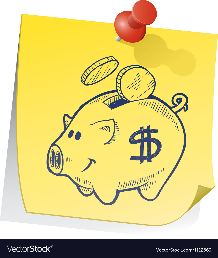 Doodle sticky note piggy bank
