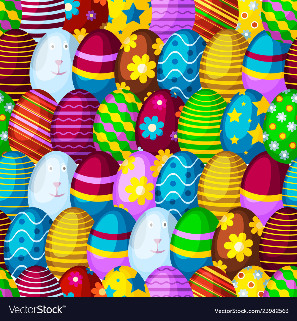 Easter eggs seamless pattern background spring