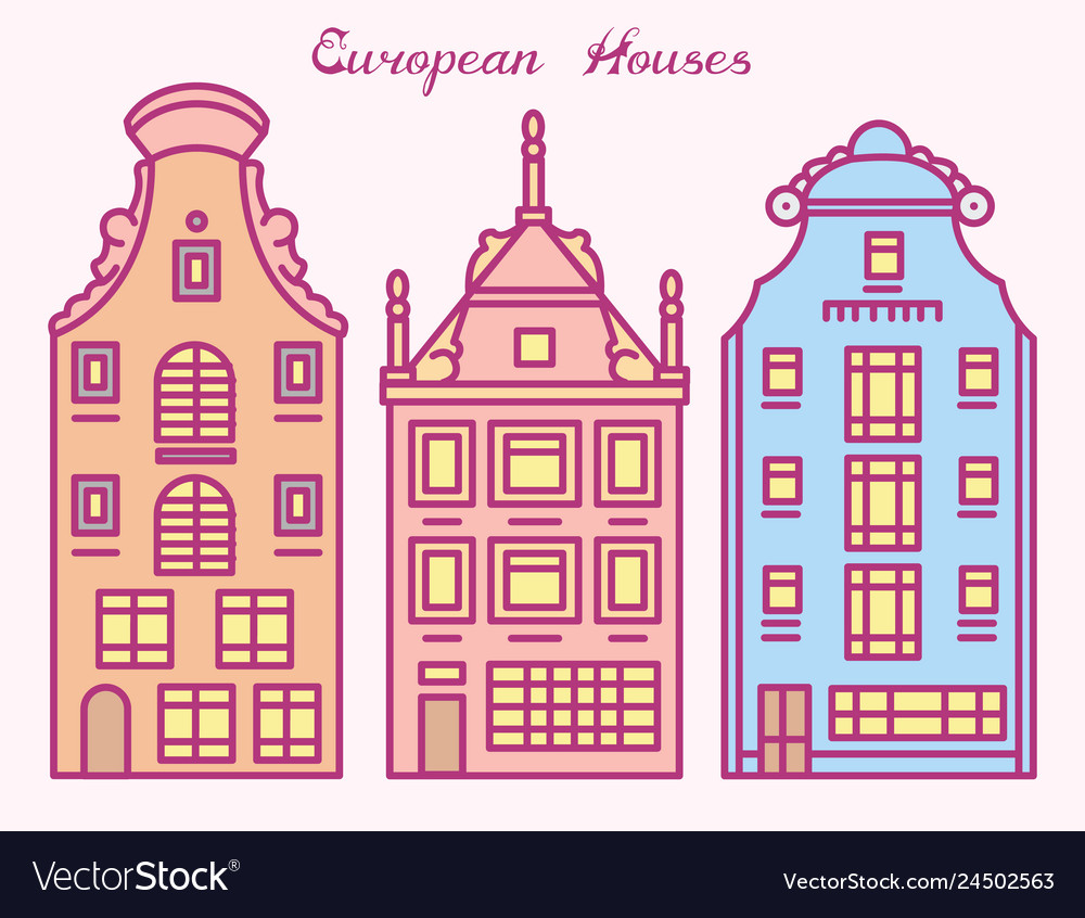 Europe house or apartments cute architecture in