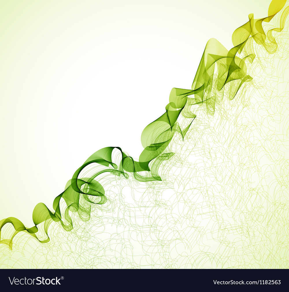 Green wave abstract background vector image