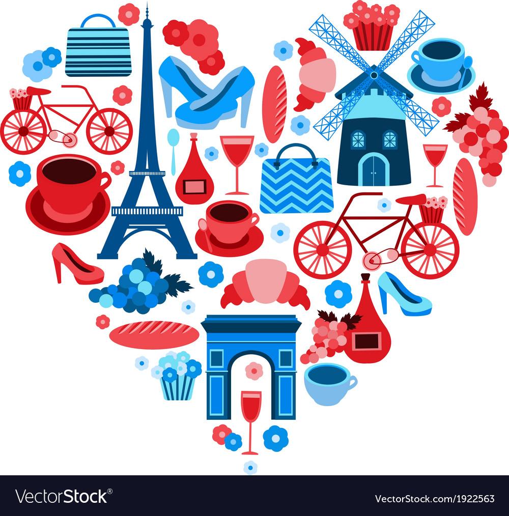 Love Paris heart symbol vector image