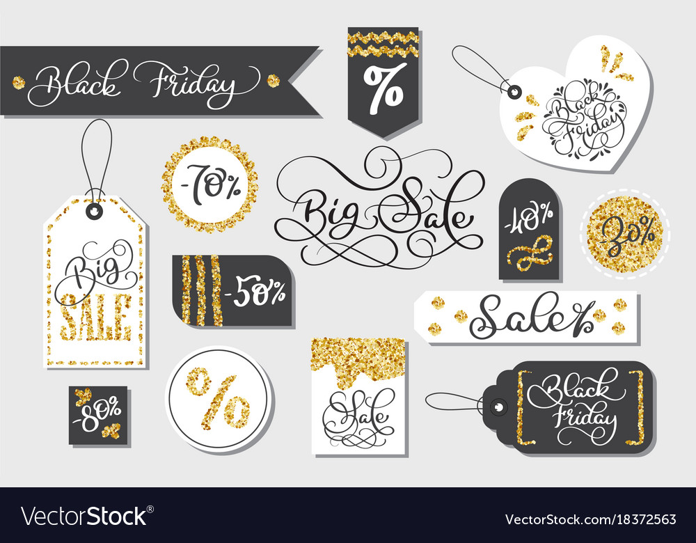 Set of black friday sale tags advertising