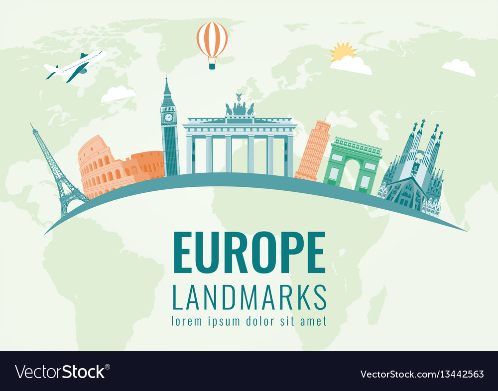 Travel composition with famous europe landmarks
