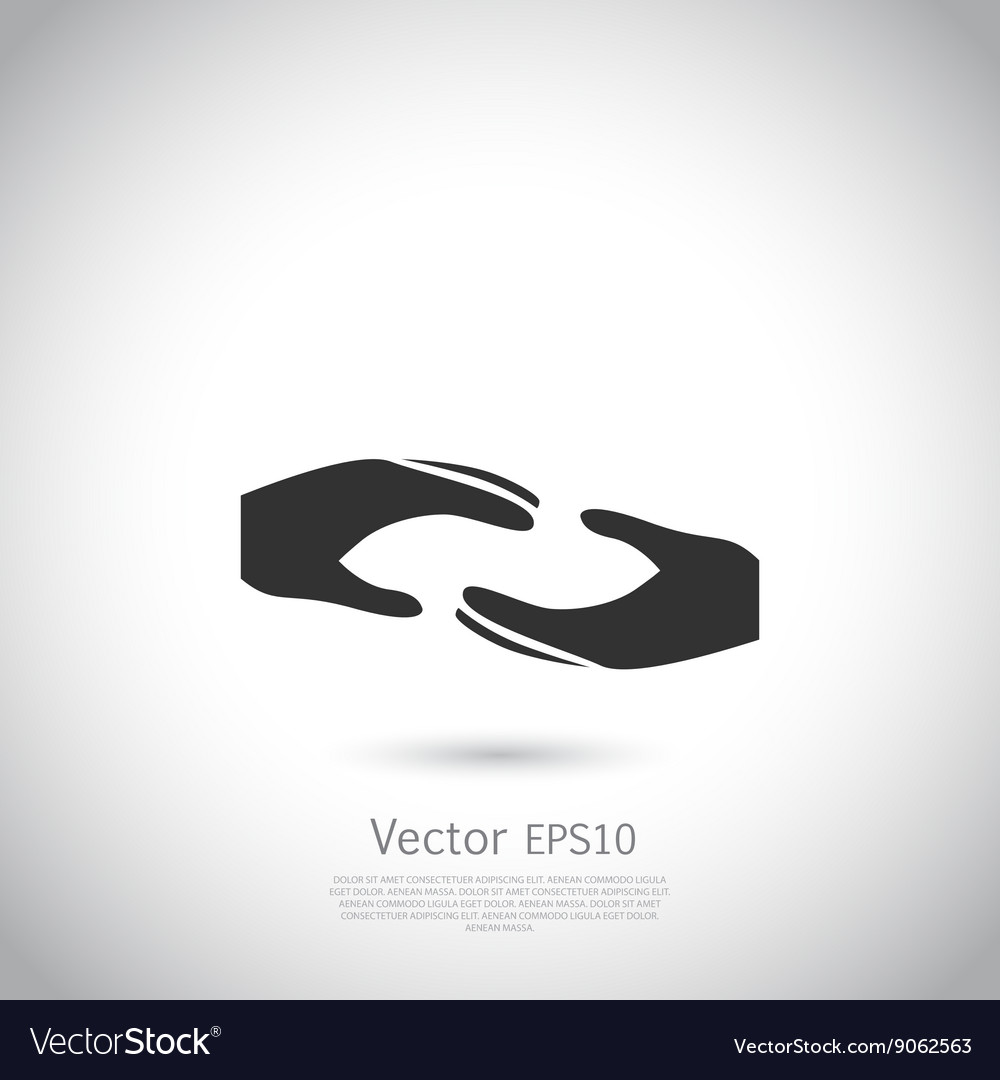 Two Hands Symbol Sign Icon Logo Template For Vector Image