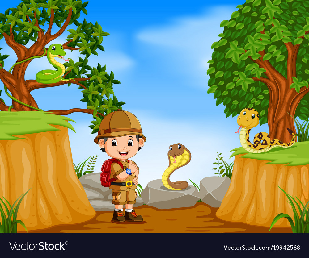 Adventurer and snakes with mountain cliff scene