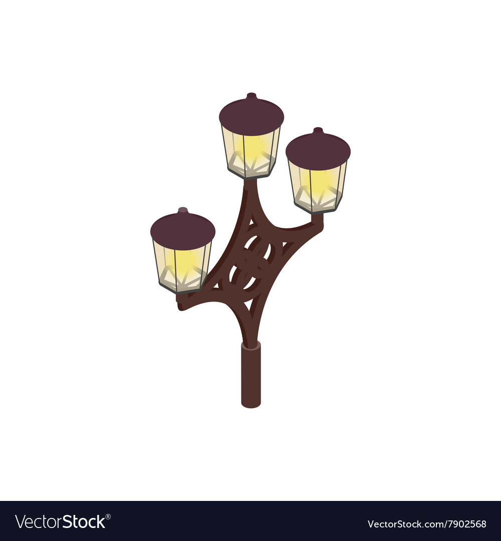 An ornate lamp post icon isometric 3d style vector image