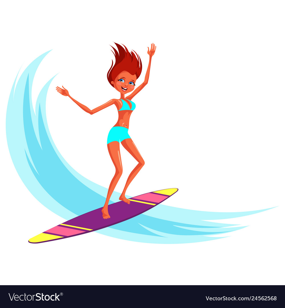 Cartoon cheerful young woman in swimsuit riding on