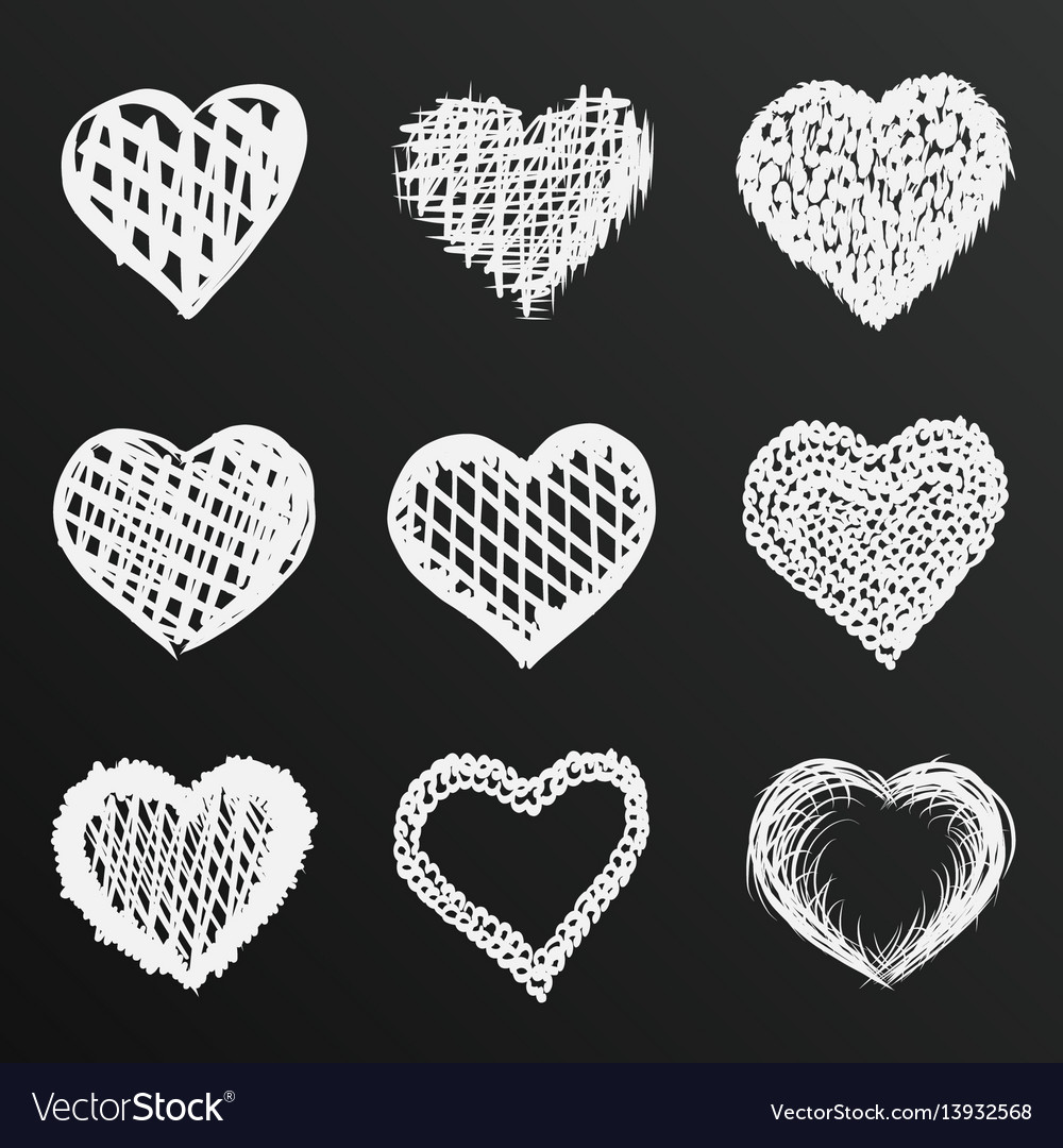 Chalkboard sketch of hand drawn hearts set