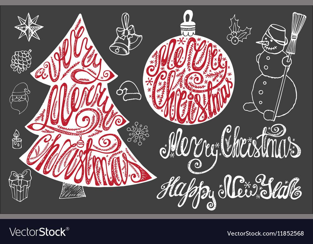 Christmas letteringNew year card elements set