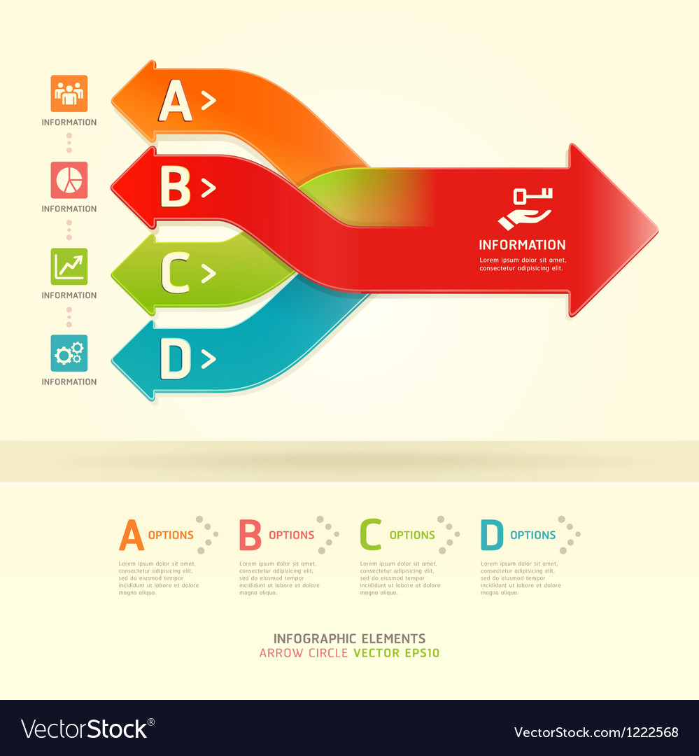 Colorful modern arrow circle number options banner
