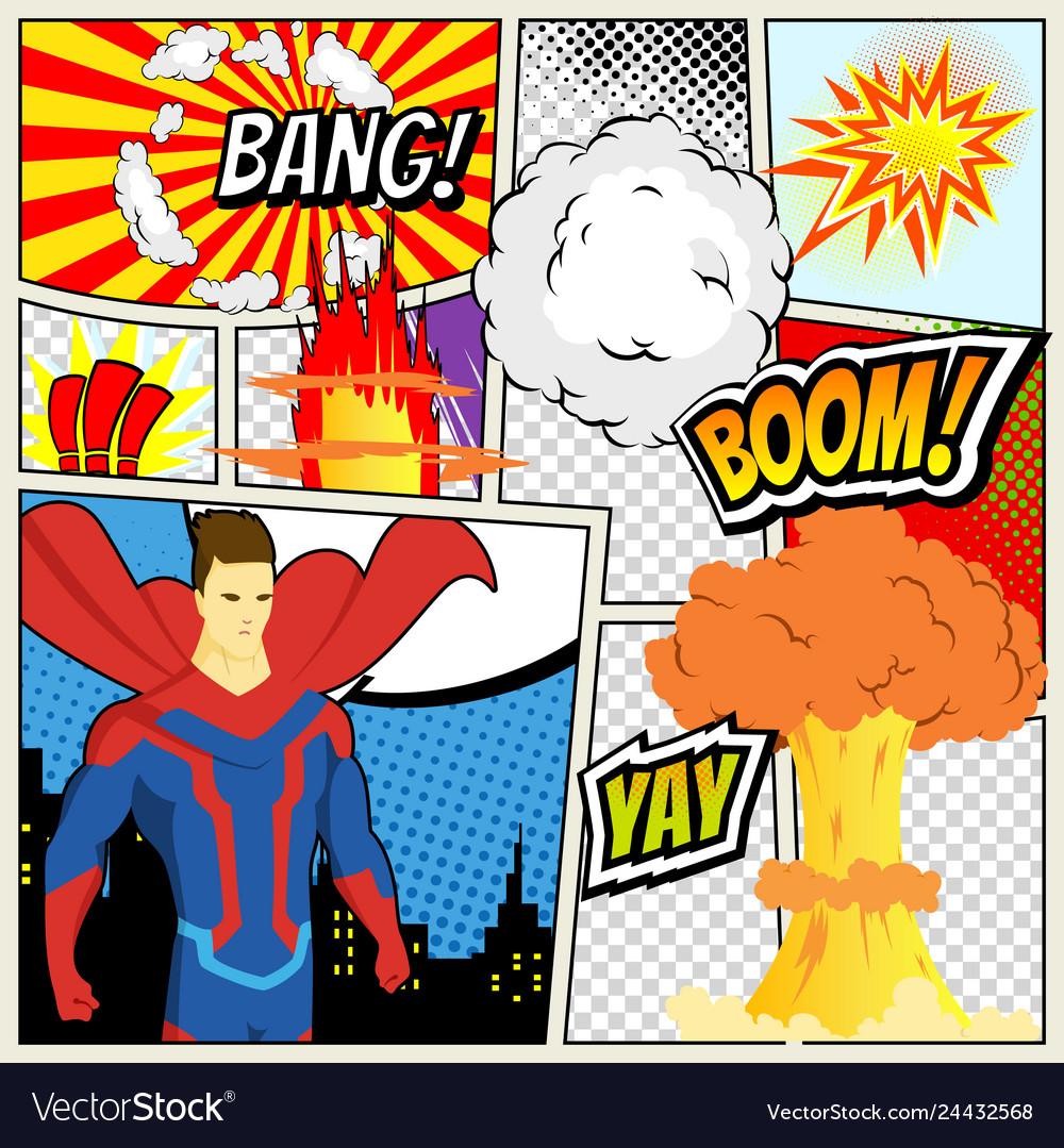 Comics template retro comic book speech