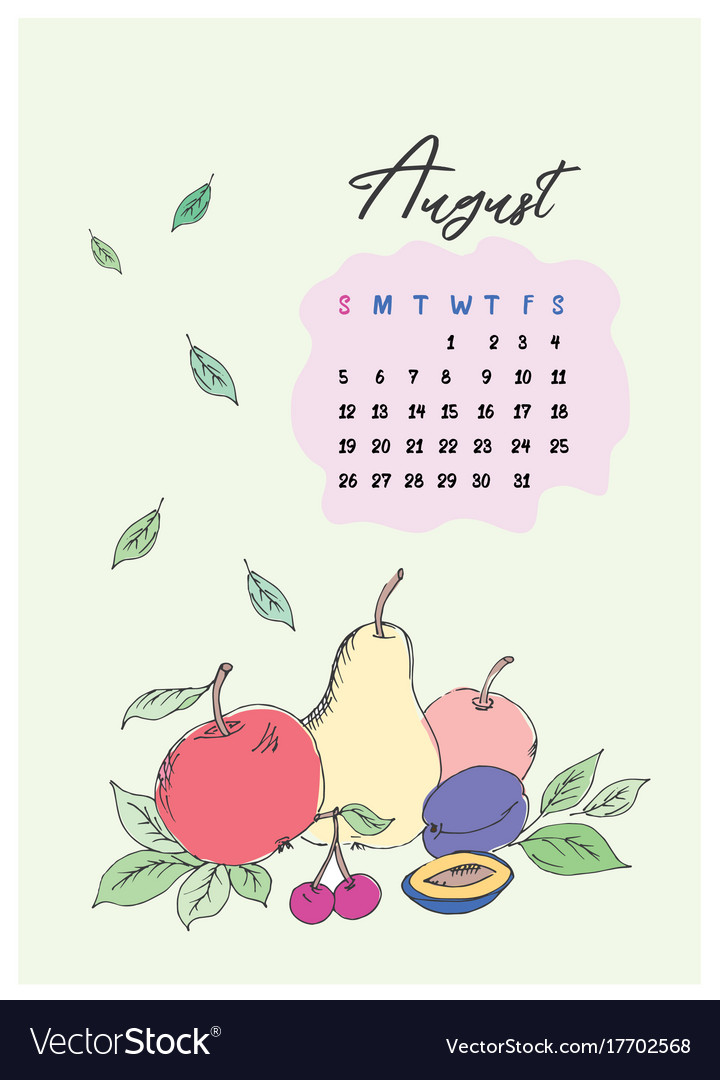 Doodle calendar for the month of august 2018