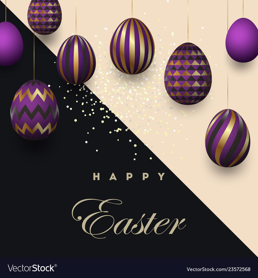 Easter card with gold ornate purple eggs on a