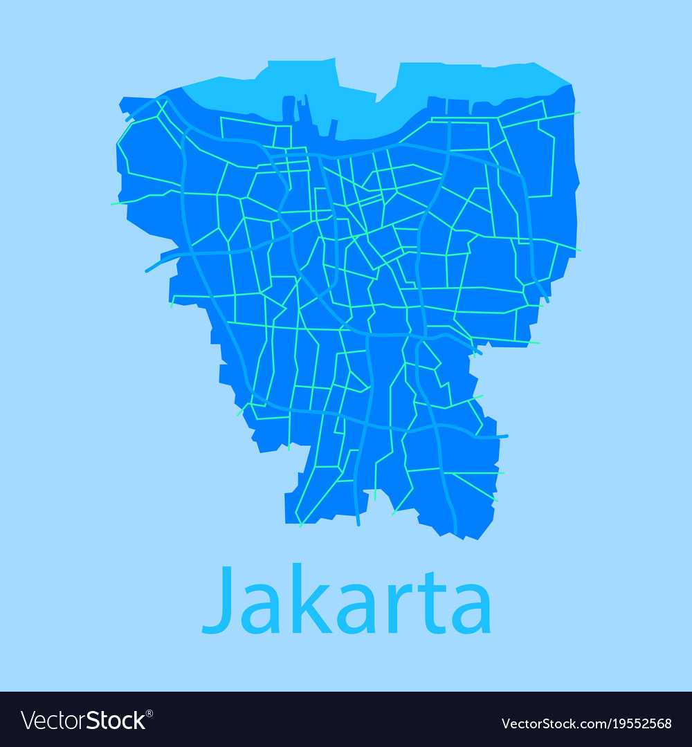 Flat Outline Map Indonesian Capital Jakarta Vector Image