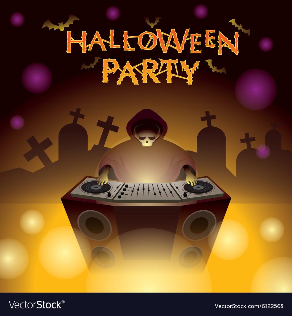 Halloween DJ Party vector image