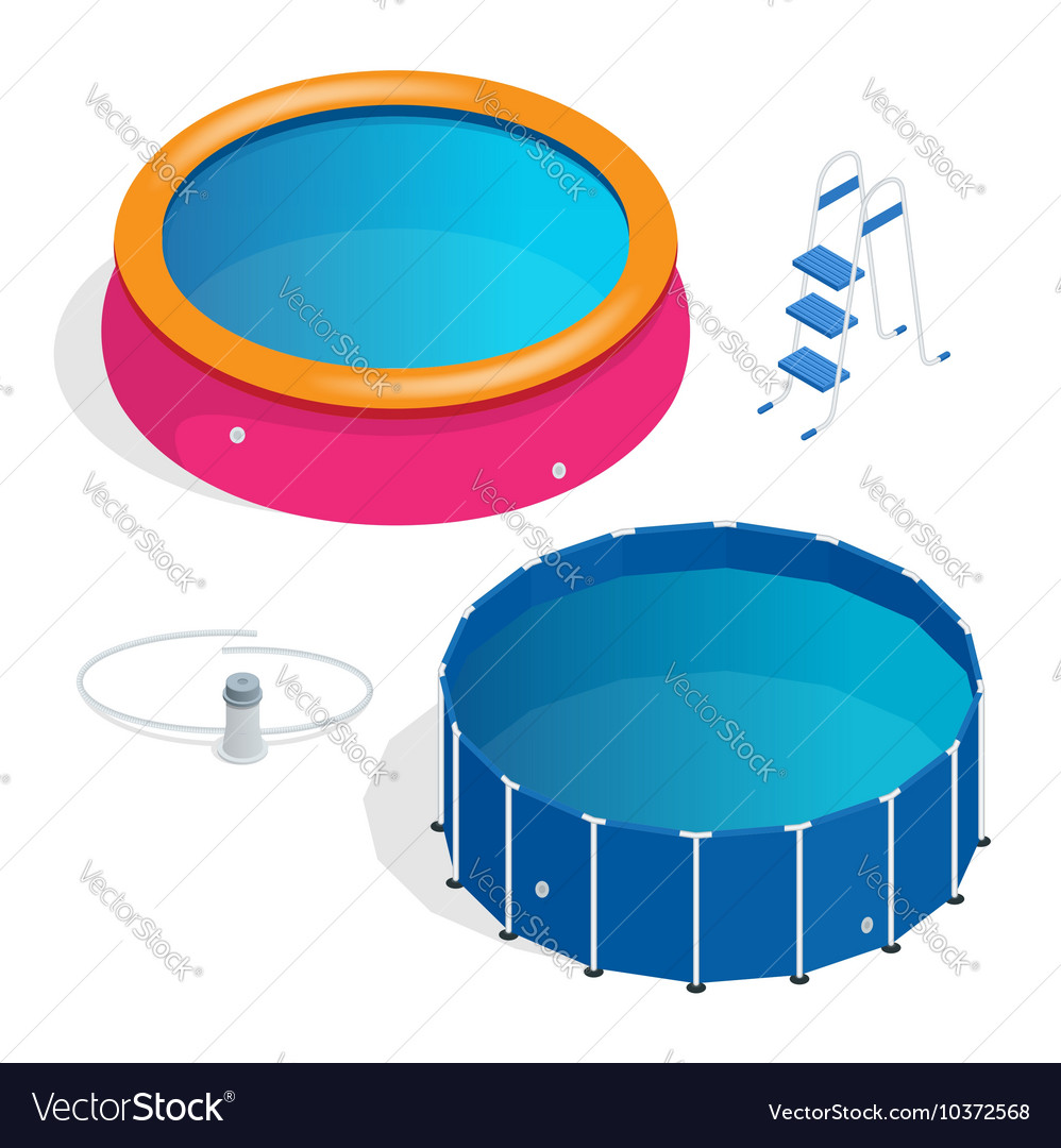 Isometric Portable plastic swimming pool vector image