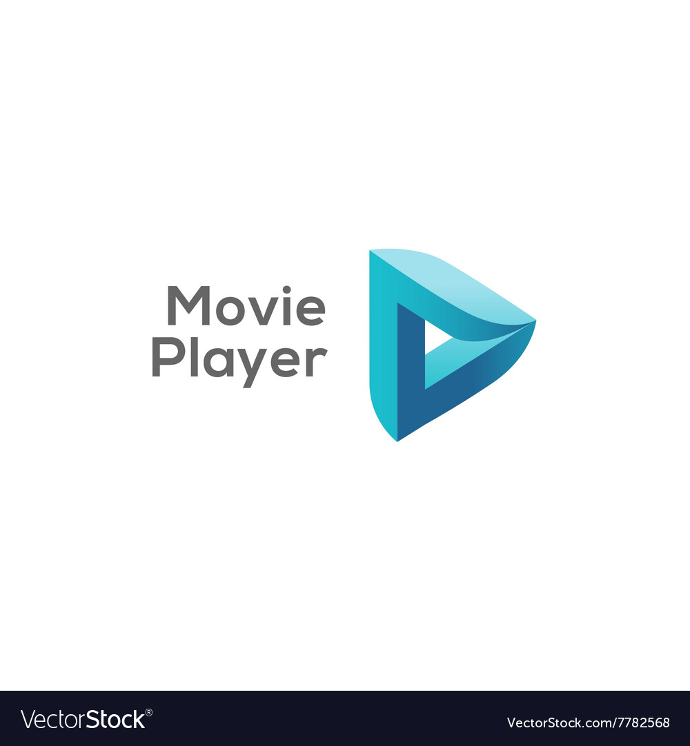 Movie player logo concept play logotype vector image