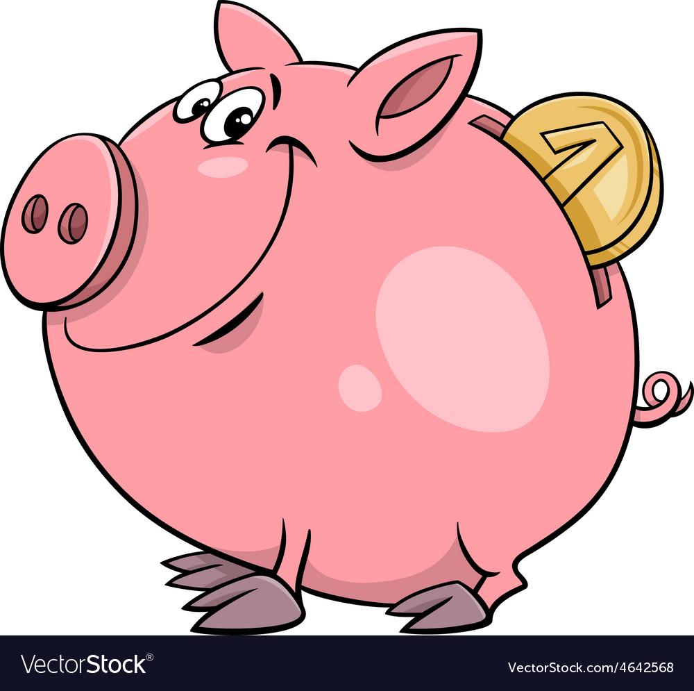 Piggy bank with coin cartoon vector image
