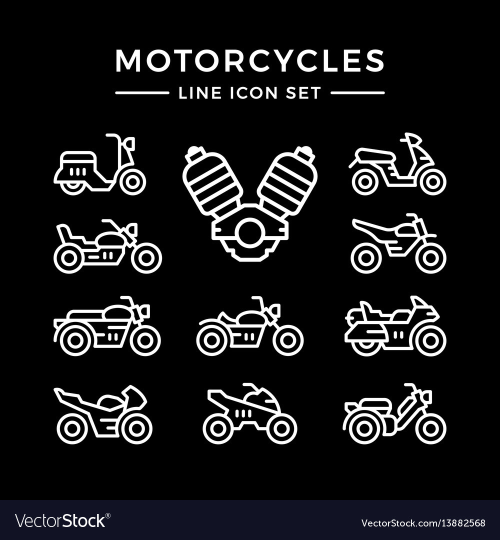 Set line icons of motorcycles